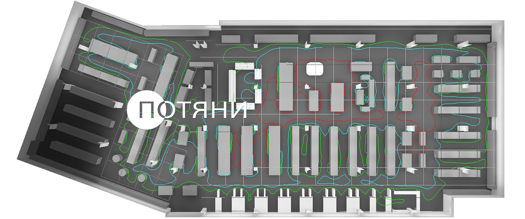 купить светодиодные светильники для торговых залов магазинов и гипермаркетов ledz e-Trade 35 CM var установлены в гипермаркете Green в Бресте на Махновича 6, светильники линейные для торговли купить в Москве